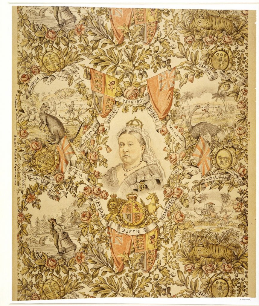 Ornate wallpaper featuring Queen Victoria in the centre, surrounded by images of animals in colonial settings.